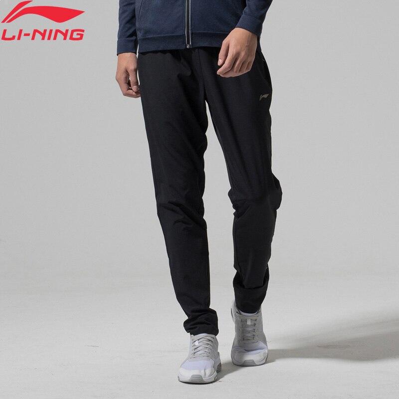 Li-Ning Men Running Jogger Track Pants Slim Fit Stretchy Fabric Comfort Woven Sports Pants AYKN011 MKY344(China)