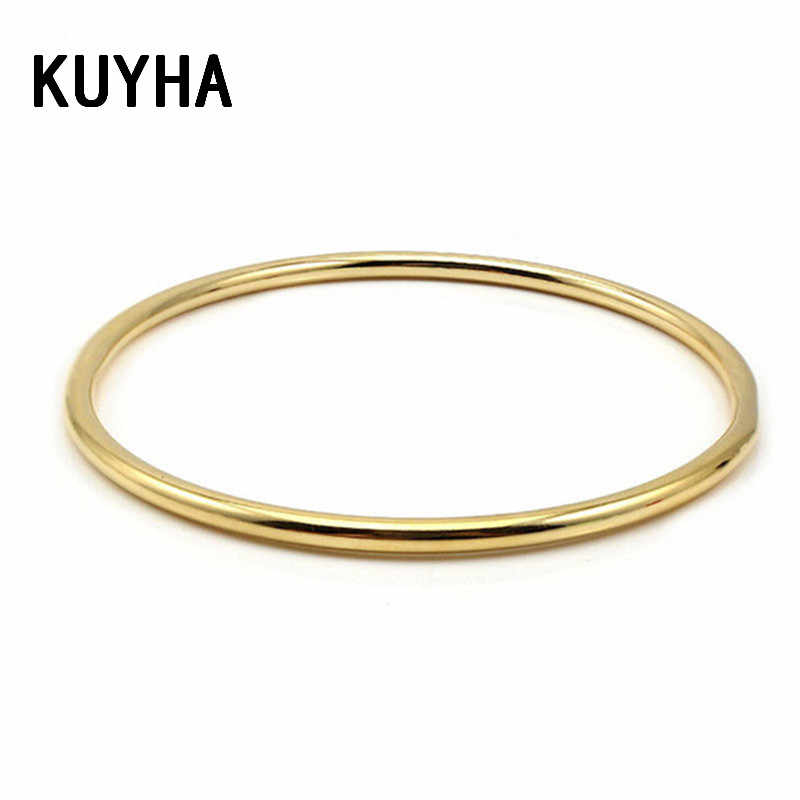 Stainless Steel Classic Round Gold 3MM Single Circle Bangle Simple Style Closed Thin Circle Wire Bracelets Bangles for Women