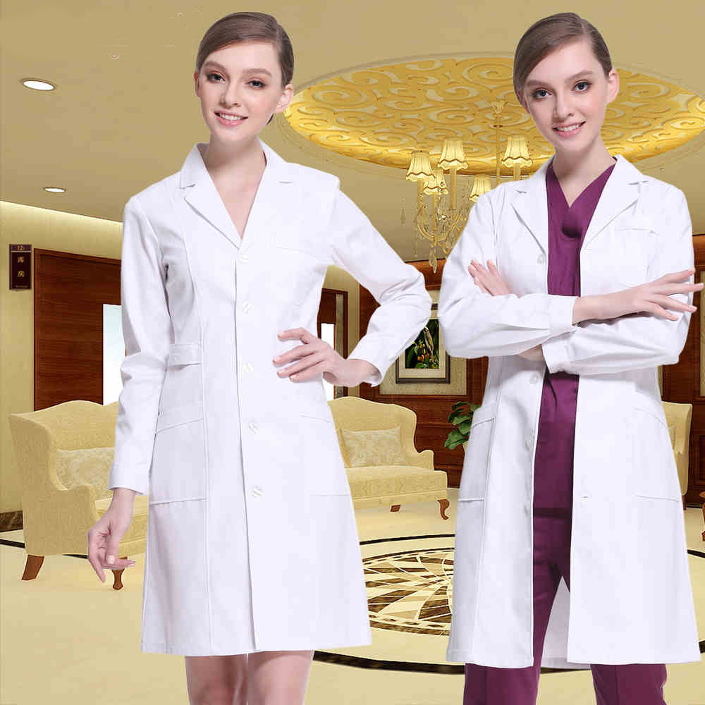Doctors Serving Long-sleeved White Coat Female Nurse Winter Slim Waist Overalls Short-sleeved Lab Coat Male Pharmacy