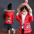 Niños Niñas Abrigo de Invierno 2016 Nuevo Adolescente Niños Outwear la Chaqueta de Cuello de Piel Con Capucha Parka Larga Espesar Caliente Embroma la Ropa