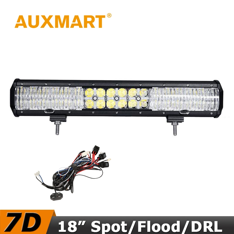 Auxmart LED Light Bar 7D 18 inch 180W Offroad Driving LED Flood/Spot Combo Beam Cross DRL Truck RZR ATV 4x4 Tractor SUV tripcraft 108w led work light bar 6500k spot flood combo beam car light for offroad 4x4 truck suv atv 4wd driving lamp fog lamp
