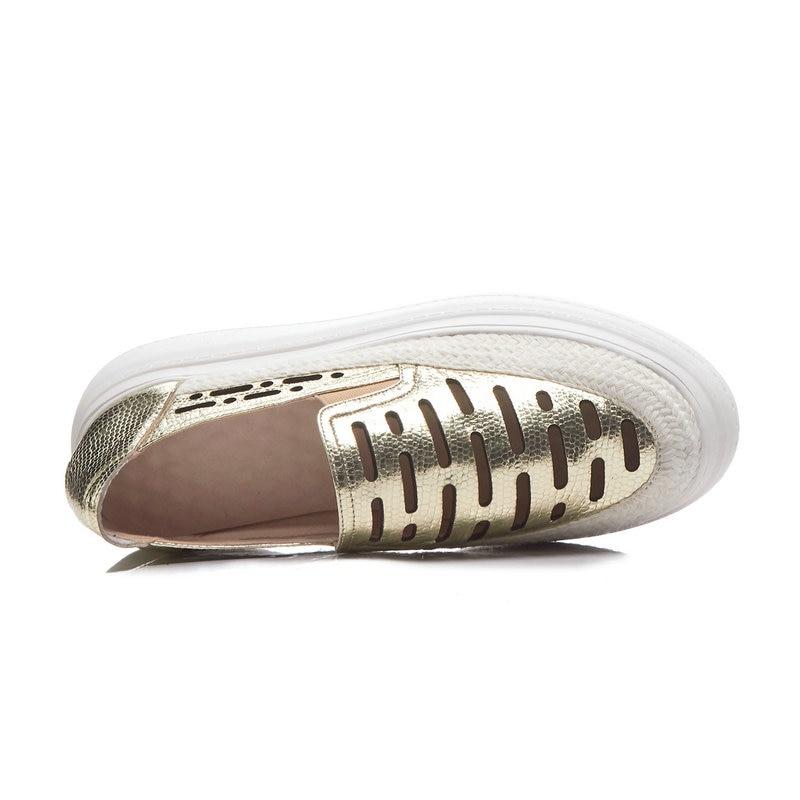 Sapato Frauen Schuhe Loafers Leder Frau Qiang Slip Aiweiyi Casual Wohnungen Feminino gold Gold Auf Ausschnitte Echtes BTUFB4w