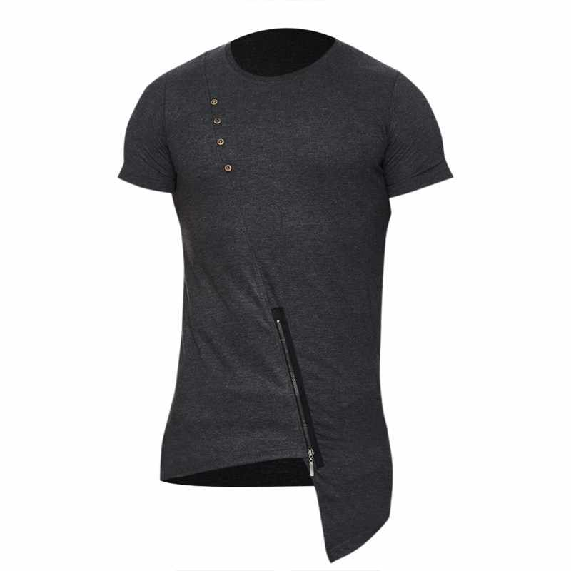 5d0d53a4c ... 2018 Casual Hip Hop T shirts Mens Fashion Stylish Asymmetrical Design  Zipper Hem Round Neck Short ...