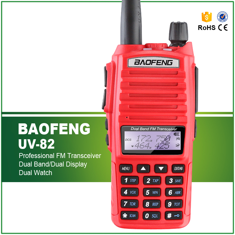 New Arrival 5W Dual Band Red Color BAOFENG UV-82 Professional Ham Amateur Radio Transceiver Dual PTT Headset Price $36.25