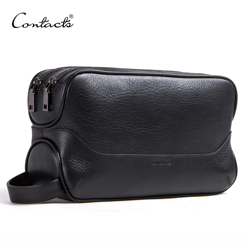 CONTACT'S 100% Genuine Leather Cosmetic Bag For Men Toiletry Bag Male Vintage Wash Bags Make Up Sotrage Bags Travel Organizer