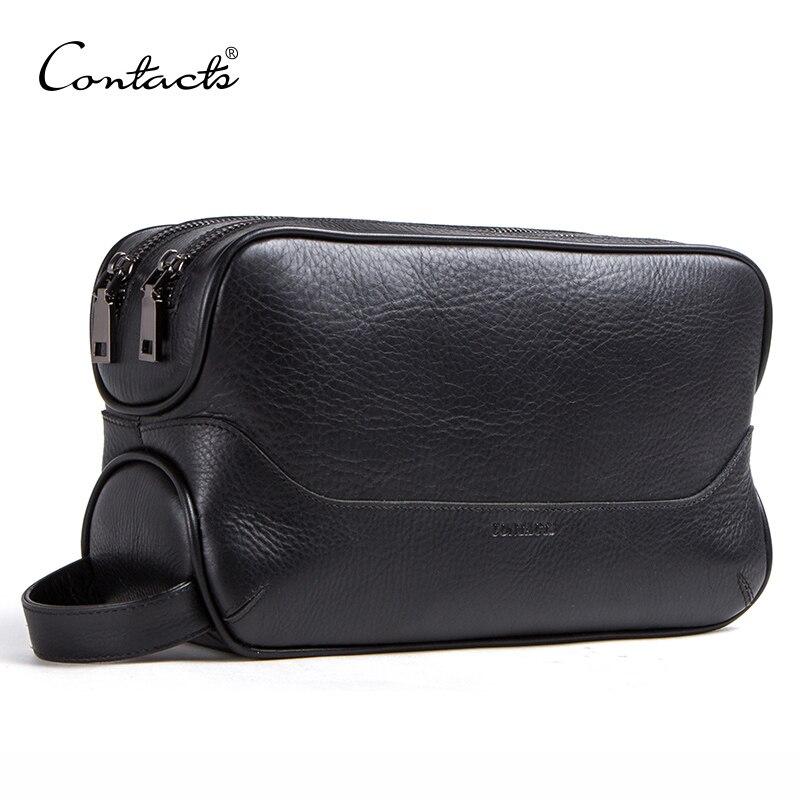 CONTACT'S 100% sac cosmétique en cuir véritable pour hommes trousse de toilette homme vintage sacs de lavage maquillage sacs de toilette organisateur de voyage