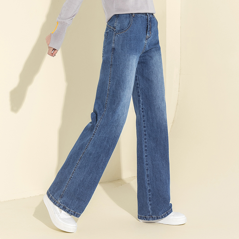 2018 Autumn Winter Cotton High Waist   Wide     Leg     Pants   Fake Zippers Jeans Casual Loose Button Fly   Pants   Women Full Length Trousers