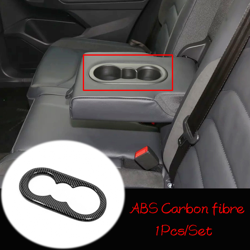 ABS Matte/Carbon Fibre For Tiguan MK2 2017 2018 Accessories Car Rear Water Cup Frame Cover Trim Sticker Car Styling 1pcs image