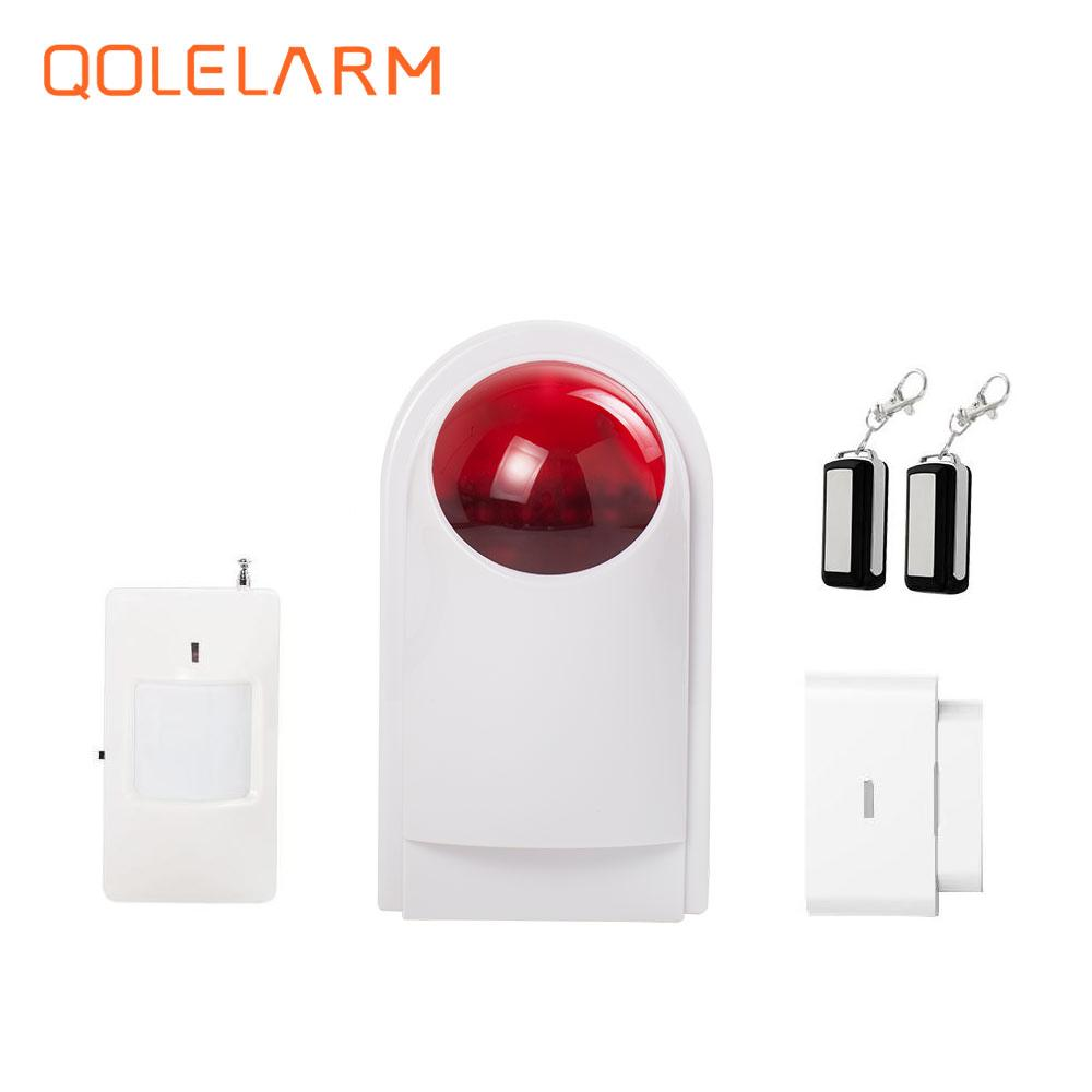 QOLELARM 433MHz Wireless siren volume 110dB red flash strobe light outdoor siren for home security alarm system цена и фото