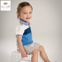 DB4924 dave bella summer baby boys short cotton t shirt infant clothes toddle tees boys blue stripe tops kids cool t-shirt