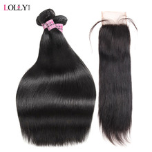 Indian Hair Bundles with Closure 3 Bundles Straight Human Hair Weave with Closure Non Remy Lolly Hair Bundles with Lace Closure