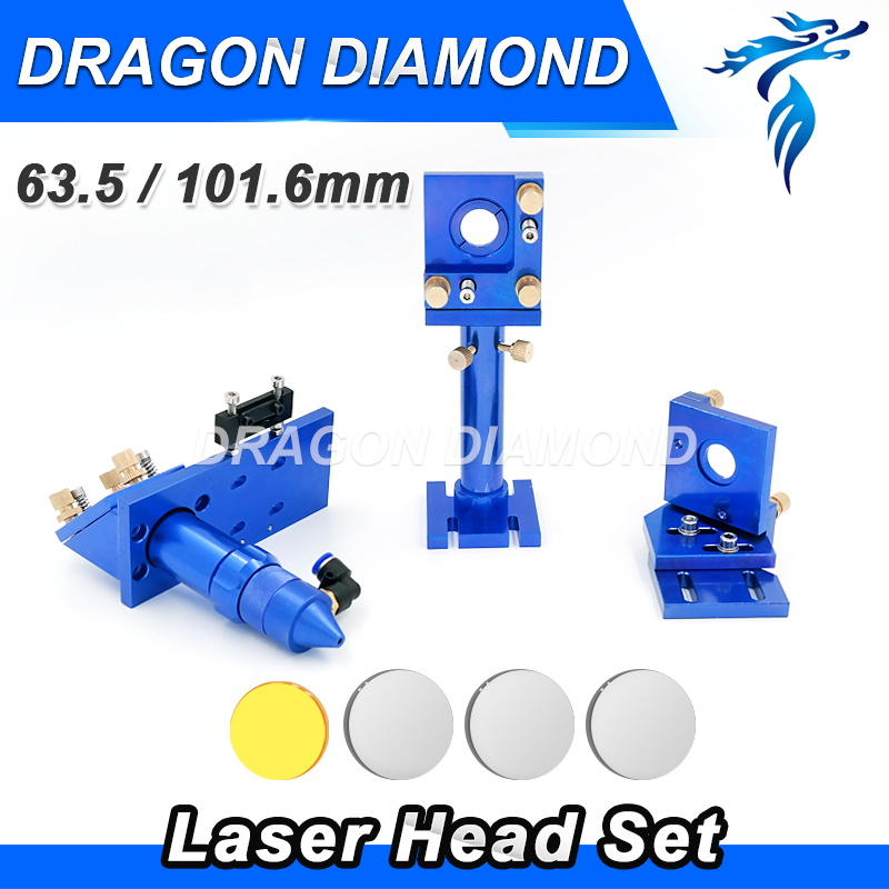 CO2 Laser Head Set CO2 + Reflective Mo Mirror 25mm + USA Focus Lens 20mm 63.5mm for Laser Engraving Cutting Machine best quality aluminum laser head for co2 laser cutting engraving machine lens dia 20mm fl63 5mm left in beam