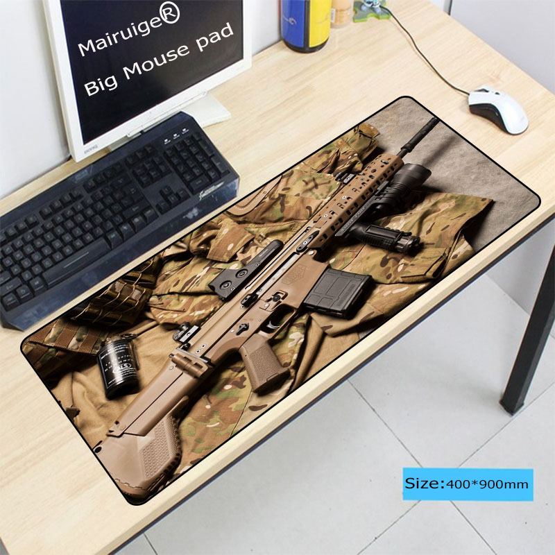 Mairuige New Arrivals Gun Keyboard Gaming Large Lock Edge Thicken MousePads Size for 300 700 2mm and 400 900 3mm Game Mousepad in Mouse Pads from Computer Office