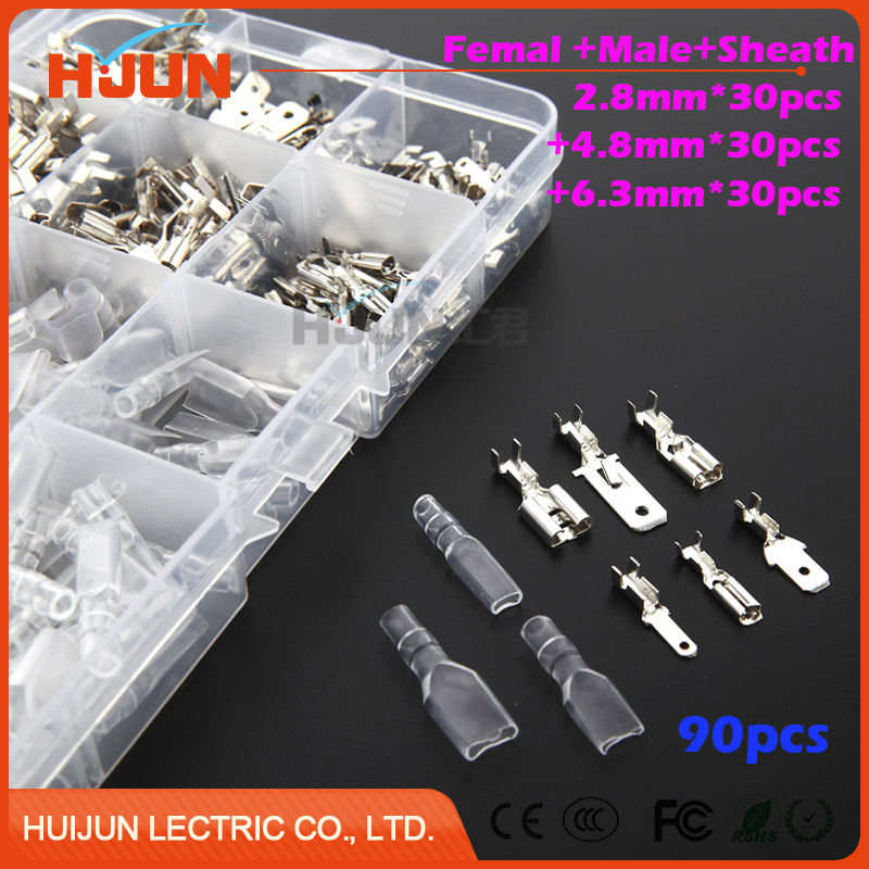 270pcs/lot Crimp Terminal Female+Male+Sheath Splice Spade Connector Splice With Case 2.8mm +4.8mm +6.3mm hd 007 surface mounting silver plated surface crimp terminal current 10a male female 250v 7 pins connector