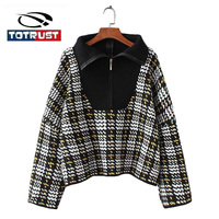 TOTRUST Plaid Knitted Women's Batwing Sweater 2018 Winter Woman Sweater Knitting Pullovers Zipper Mujer Ladies Jumper Pull Femme