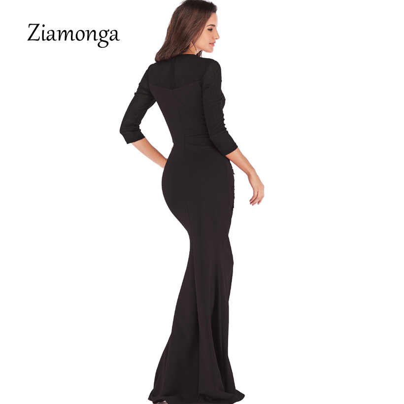 a6fde8af4ac74 Ziamonga Long Sleeve Maxi Dress Black Blue Red Floor Length Party Dresses  Women Sexy Maxi Dress Evening Gown Floral Lace Dress