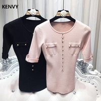 KENVY Brand Fashion Women's High end Luxury O Neck Casual Buttons Slim Knitted Wool Short T shirt Tops Tees Women
