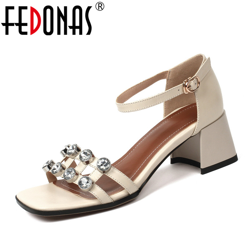 FEDONAS Women High Heels Sandals Summer Square Heels Crystal Rhinestone Wedding Party Shoes Woman Ladies Sexy Sandals hee grand cross tied women sandals summer sexy square high heels flock wedding shoes woman elegant pumps ladies 3 colors xwz2049