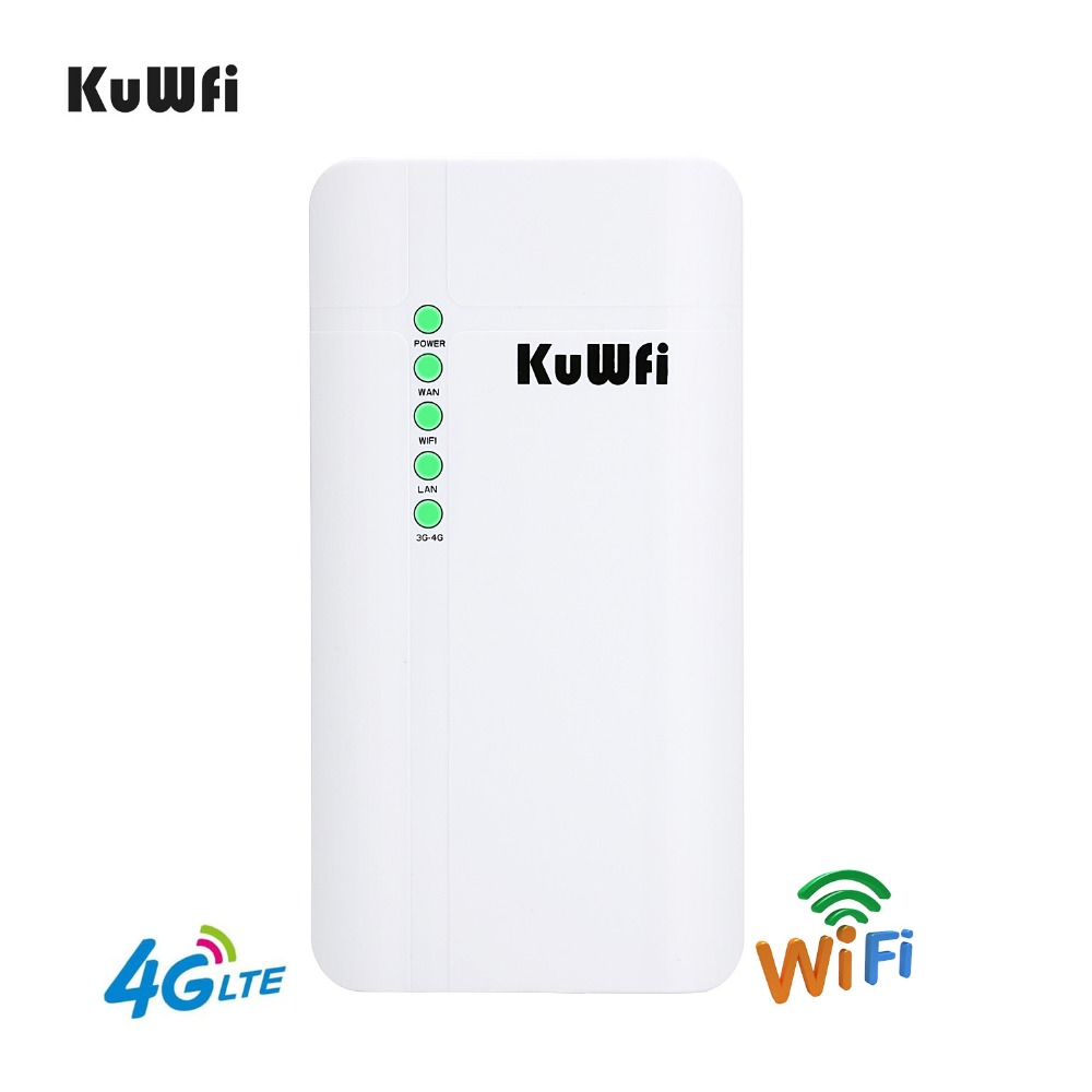 KuWFi Outdoor 4G LTE CPE Router CAT4 150Mbps Outdoor Waterproof Wireless CPE Router For Home/Office Support 32 Wifi Users