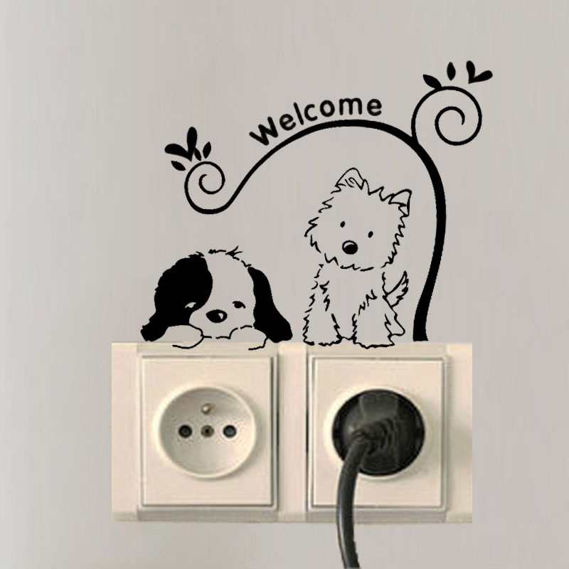 Cat Dog Welcome Wall Stickers Removable Switch Socket Decal Home Fashion Decor A3147