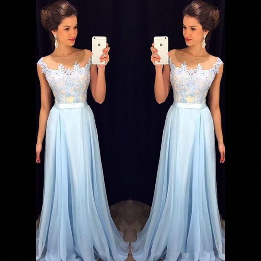 Sky Blue Robe De Soiree 2019 A-line Cap Sleeves Chiffon Lace Sexy Long Women Party   Prom     Dresses     Prom   Gown Evening   Dresses