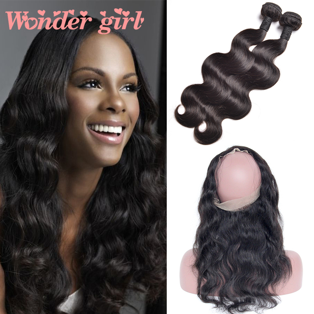 "Brazilian Hair 360 Lace Frontal With Bundle Brazilian Body Wave 360 Lace Frontal Closure Brazilian Virgin Hair 8""-22"" Human Hair"