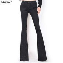 Расклешенные женские джинсы, винтажные, средняя талия, расклешенные, обтягивающие джинсы, женские, черные, одноцветные, полная длина, джинсовые штаны для молодых леди, C075