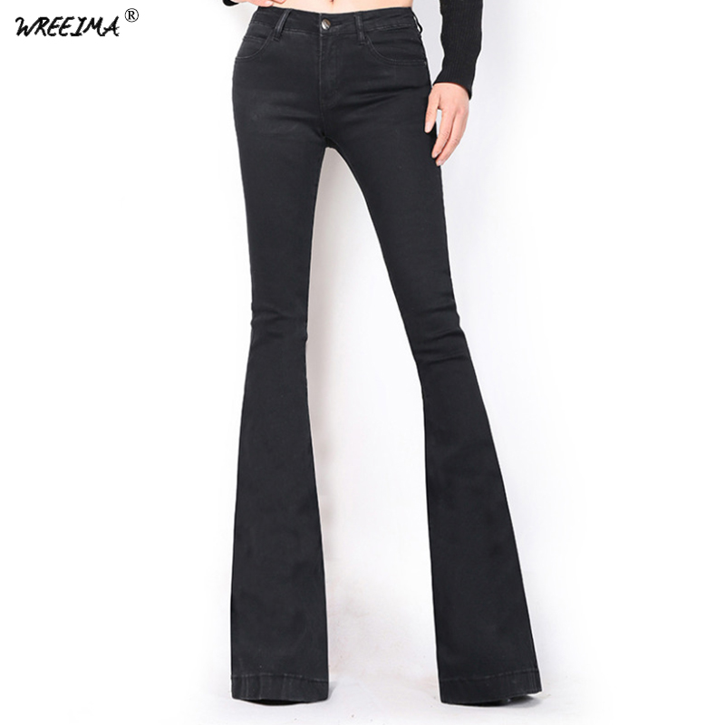 2018 Women Flare   jeans   Vintage Mid Waist Bell Bottom Skinny   jeans   female Black Solid Full Length denim pants young lady C075