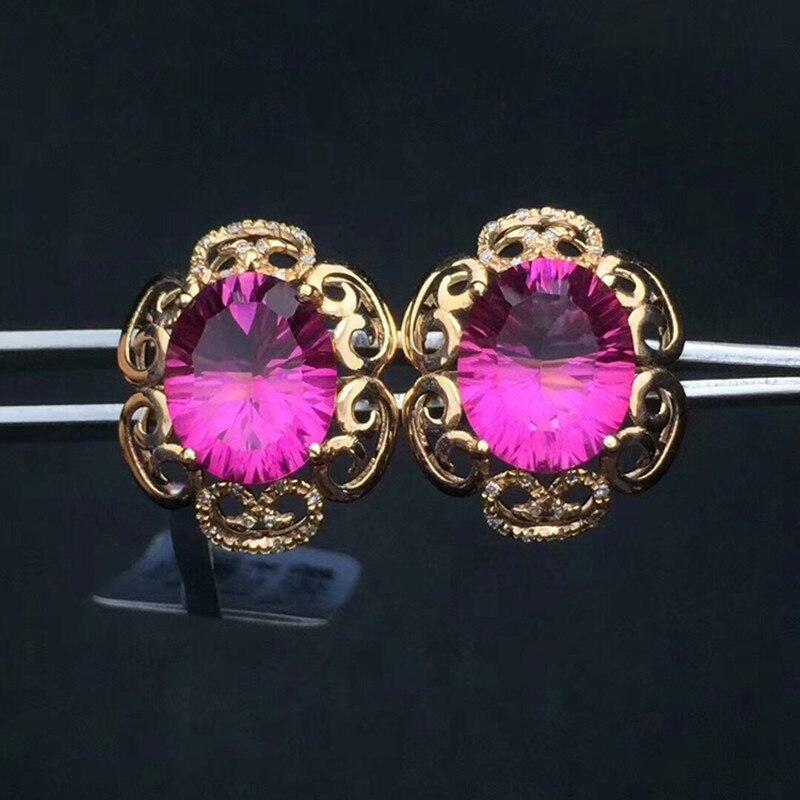 Medboo серебро 925 ювелирные кольца Топаз инкрустированные 18 карат, Золотое кольцо хиты Новый Обручальное годовщина розовый эллипс природных д
