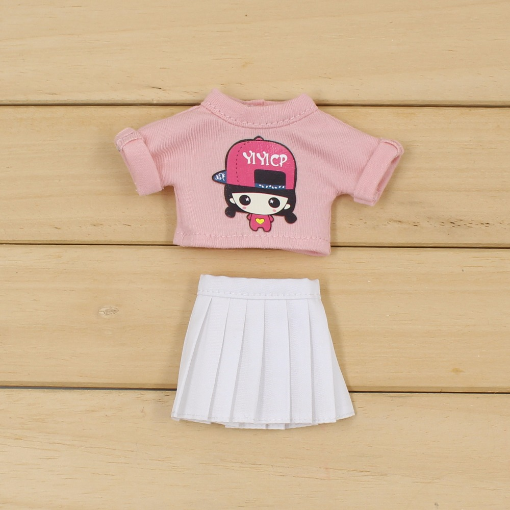 Neo Blythe Doll Pink Shirt White Skirt 4