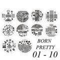 10 шт. Born pretty # BP01-10 Ногтей Штамповка Изображения Шаблона Штампа Плиты #16858