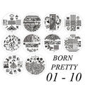 10pcs BORN PRETTY #BP01-10 Nail Art Stamping Template Image Stamp Plates #16858