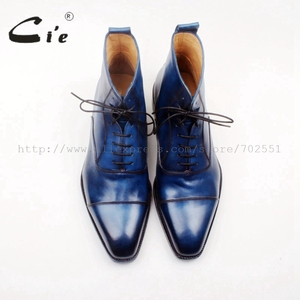 Image 4 - cie Square Captoe Lace Up Handmade Hand Painted Navy 100% Genuine Calf Leather Hidden Suture Goodear Welted Men Leather BootA156