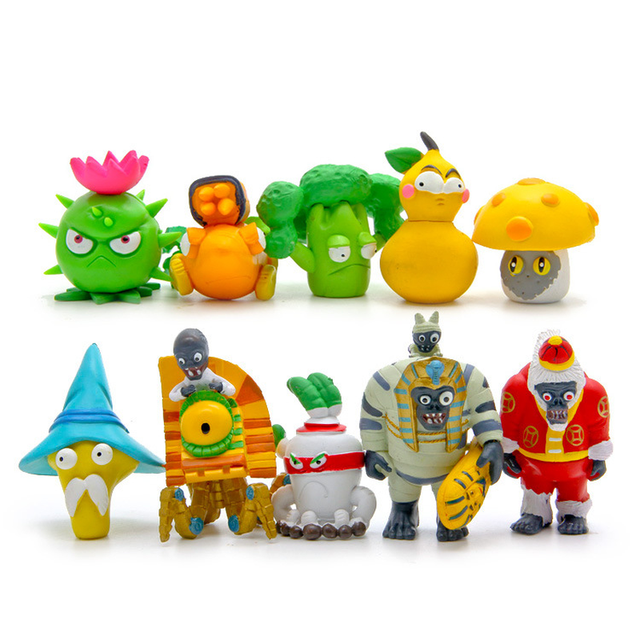 10 Pcs/lot PVC Plants Vs Zombies Ornaments Miniatures Mushroom Christmas  Snowman Figurines Bedroom Study Decoration Crafts Gifts - 10 Pcs/lot PVC Plants Vs Zombies Ornaments Miniatures Mushroom