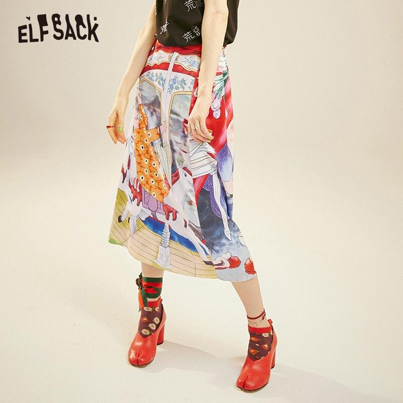 ELFSACK Fashion Cartoon Print Women Skirt 2019 Summer Vintage A-line Mid Waist Female Skirts Streetwear Casual Femme Bottoms