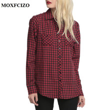 2018 Skull Hollow Out Autumn Women's Plaid Blouse Cotton Women Long Sleeve Tops Ladies Red Plaid Shirt Female Plaid Women Blouse