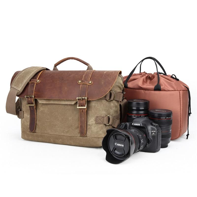 Sac photo rétro étanche photographie cuir unique paquet appareil photo numérique DSLR Vintage étanche Batik toile sac Massenger