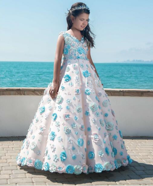 Princess White Blue Customized Flower Girl Dresses New Sheer First Communion Birthday Party Dresses Girls Pageant Dress For Girl 2017 new arrival flower girls dresses for wedding white girl birthday party dress fashion first communion dresses with sashes