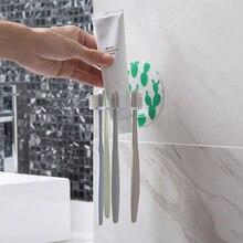 Toothbrush Holder Razor Stand Suction with 4 Hook Rack Toothpaste  Storage Adhesive Hanger Organizer Bathroom Accessories