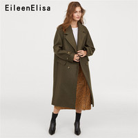 Eileen Elisa Army Green Coat Women Military Western style Double Breasted Long Winter Coats Ladies Fashion 2018