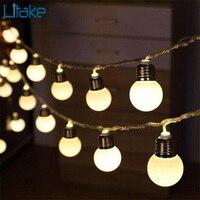 Litake 5 M 20LED Bulb Globe Chuỗi Lights với Rõ Ràng Bulb Sân Sau Đèn Patio Vintage Bulbs Trang Trí Ngoài Trời Garland Wedding
