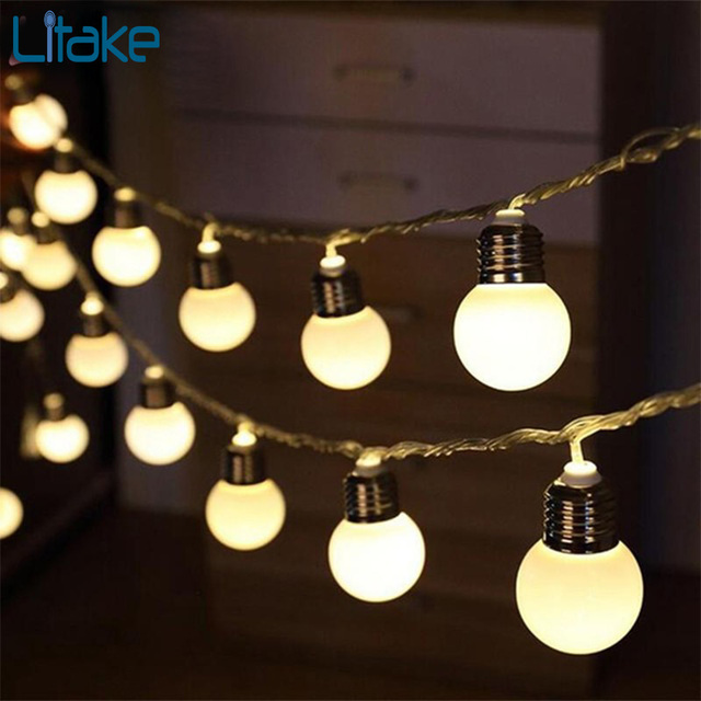 Litake 5M 20LED Bulb Globe String Lights With Clear Bulb Backyard Patio  Lights Vintage Bulbs Decorative