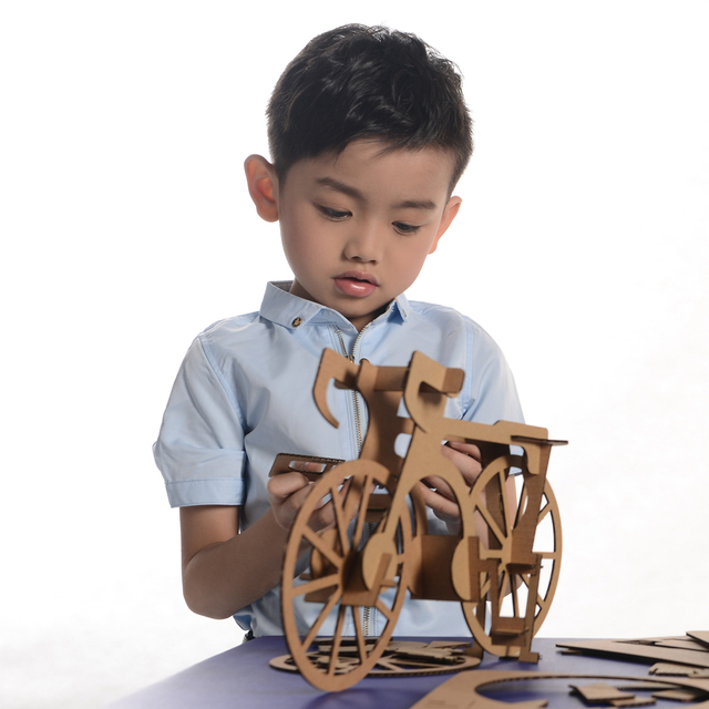 3d Puzzle Bicycle Model Paper Craft Kids Educational Toys Children
