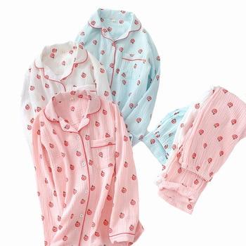 Spring New Ladies Pajamas Set Crepe Cotton Cute Lollipop Printed Long Sleeve And Pants Sleepwear Set Women Soft Comfort Homewear