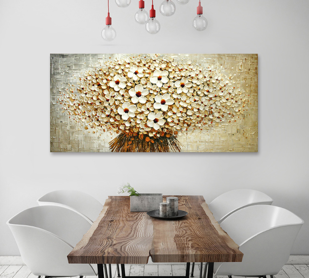 Handmade Red Blue White Flowers Original Painting Large Abstract Art Wall Decor Palette Knife Textured Oil Painting On Canvas