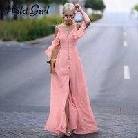 Glamaker High Split Ruffle Chifon Maxi Dress Women Cold Shoulder Halter Party Dress Vestidos Casual Summer