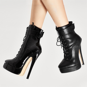 jialuowei Ankle Strap Boots Women 18cm/7inch High Thin Heel Platform Boots PU Leather Shoes Lace-up Ladies sexy fetish boots