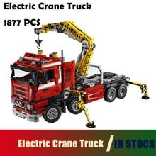 Kompatibilis a Lego Model Building Blocks játékokkal 20013 1877db Technic Ultimate Mechanical sorozat Elektromos daruautó 8258
