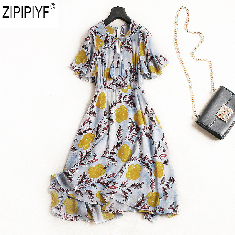 Floral Print Mid-Calf Beach Dress Women Summer Casual V-Neck Short Butterfly Sundress Elegant Sash Wrap Bandage A-Line Dresses