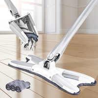 Congis x-tipo microfibra mop chão com 3 pces pano mop substituir mão-livre lavagem plana mop manual extrusão ferramentas de limpeza do agregado familiar